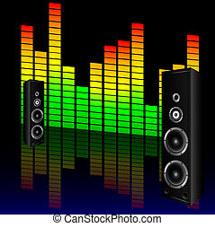 music volume with speaker illustration - music volume with...