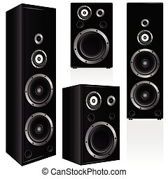speaker in black color vector illustration on white...