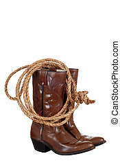 cowboy boots with a lasso - isolated cowboy boots with a...