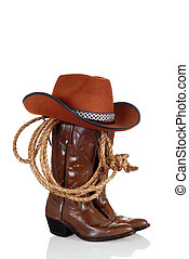 cowboy boots with hat and a lasso with reflection