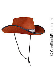 isolated cowboy hat with strap on white background