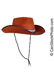 aislado, vaquero, sombrero, correa