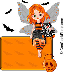 Little Halloween Fairy place card - Illustration for...