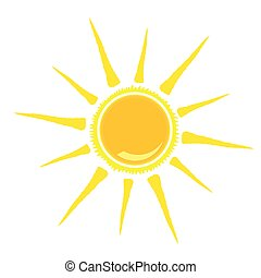 sun vector illustration yellow color on white background