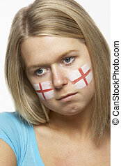 Sad Young Female Sports Fan With St Georges Flag Painted On Face