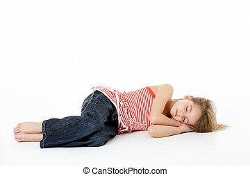 Young Girl Sleeping In Studio