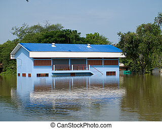 Flooded school building in Ayuttaya, Thailand - Flooded...