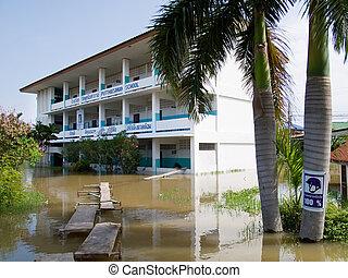 Flooded school building in Ayuttaya, Thailand - Flooded...