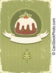 Vintage christmas pudding on old paper texture for design