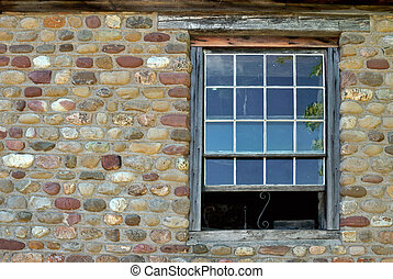 Window - Old window on cobblestone building