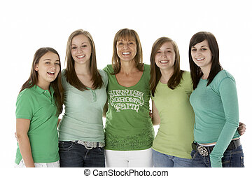 Group Of Teenage Girls With Mother