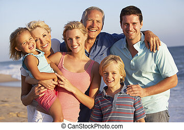 retrato, de, tres, generación, familia, en, playa,...