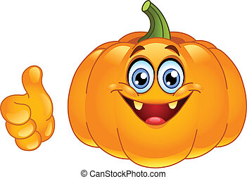 Thumb up pumpkin - Smiling pumpkin showing thumb up