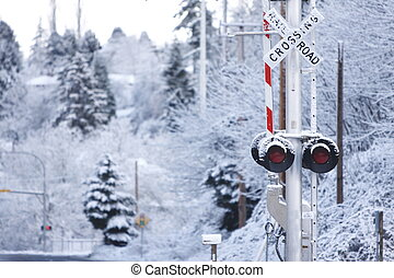 Railroad crossing sign with snow