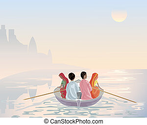 boat on the ganges - an illustration of a group of asian men...
