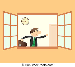 businessman hurry to work