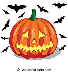 Pumpkin, halloween - Halloween, orange pumpkin on the white...