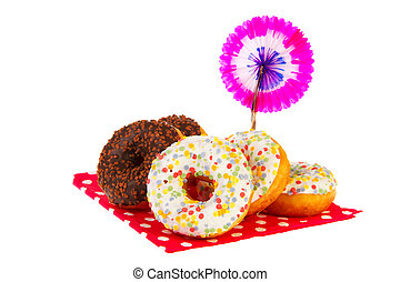 Birthday donuts with colorful glaze - Birthday donuts with...