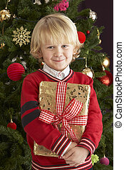 Young Boy Holding Gift In Front Of Christmas Tree