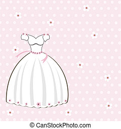 Vintage wedding card on the pink dots background