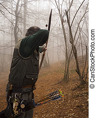 arquero, preparando, retoño