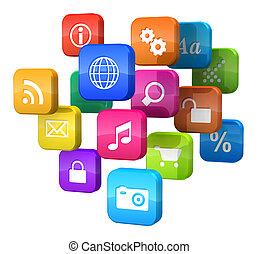 logiciel, concept:, nuage, programme, icônes