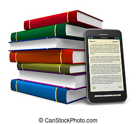 Smartphone as an electronic book - Smartphone and stack of...