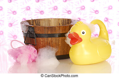 wash tub and rubber duck - wooden wash tub and rubber duck...