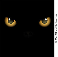 black background yellow eyes - On an black background are...