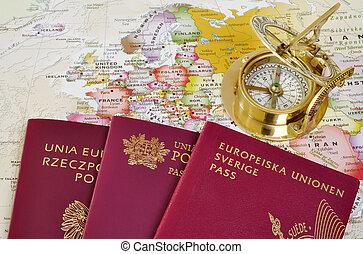 EU passports on a map - Polish, Portuguese and Swedish...