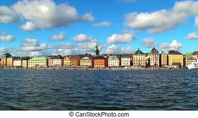 Panorama of Stockholm, Sweden - Scenic zoom panorama of the...
