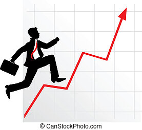 businessman on successful diagram - Running businessman on...