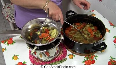 fresh vegetable soup vegetable soup - Full HD video clips,...