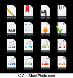 Documents in black background - Professional icons for your...