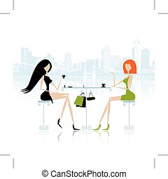 Fashion girls in cafe on the street