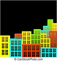 Motley city - Abstract background Motley city on a black...