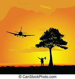 man in the desert waiting for a plane vector illustration