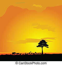 animal in desert and tree black silhouette vector...