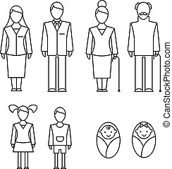 Family icons - Outlined icons of family members parents,...