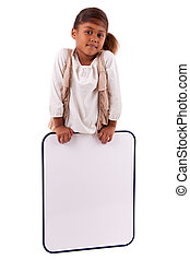 Cute little african american girl holding a whiteboard,...
