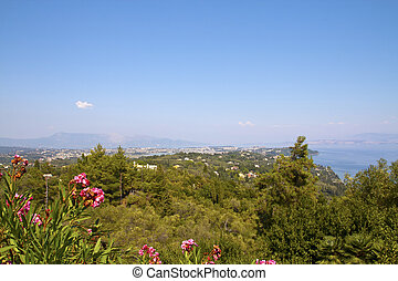 View from terras Achillion palace, corfu, greece