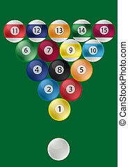 Pool table: ball triangle - the balls of a pool table at the...