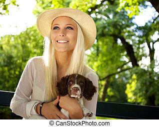 Smiling woman with a English Springer Spaniel - Cute woman...
