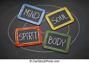 body, mind, soul, and spirit concept - body, mind, soul,...