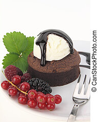 Chocolate souffle  cake on white background