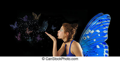 Fairy blowing butterflies - Fairy with blue wings blowing...