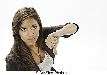 Teenage Girl Giving The Thumbs Down Sign - An cute...