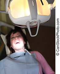 female patient at the dentist