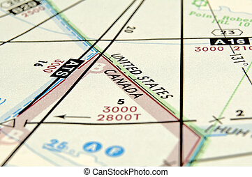 United States Canada border - Air navigation map detail:...