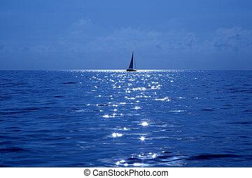bleu, voilier, voile, méditerranéen, mer